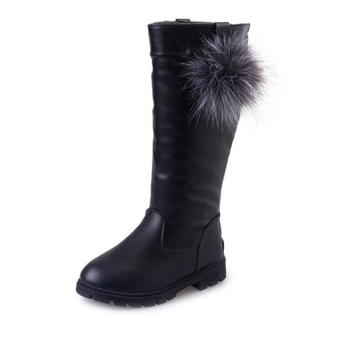 Chaussures fille Fluffy balle décoration couleur unie Zipper Bottes 9308452
