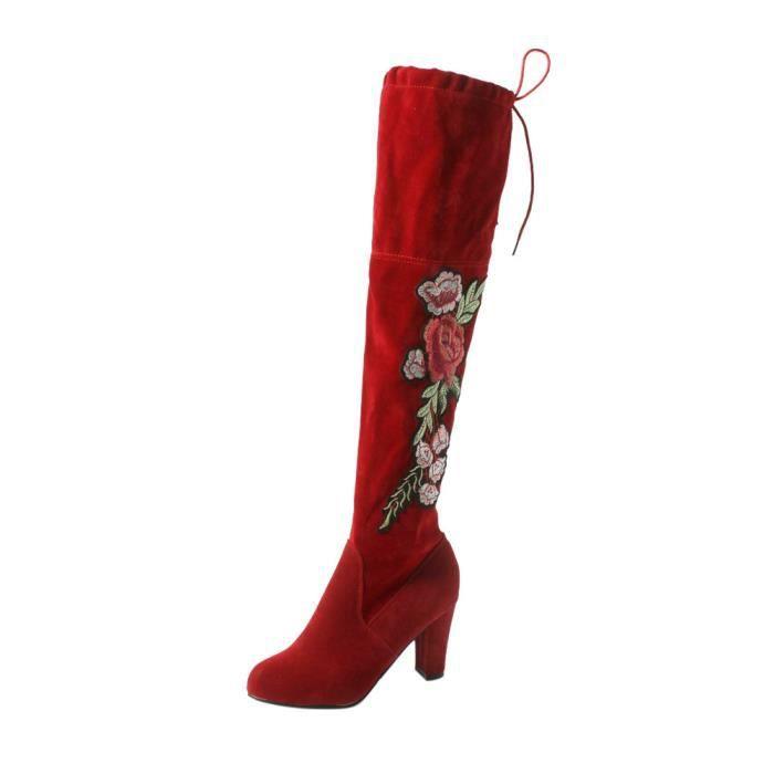 Napoulen®Femmes rose brodé bottes hautes cuisse au-dessus du genou troupeauRouge-CQQ71010341RD