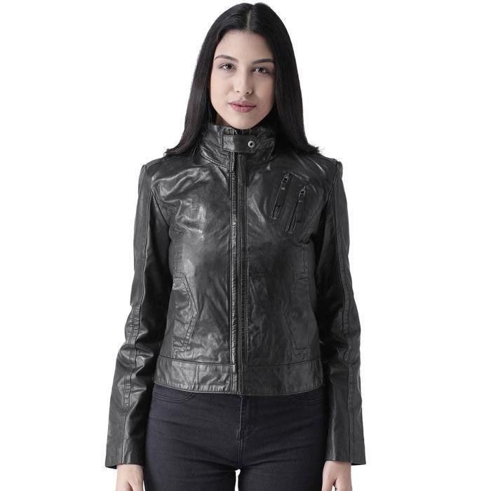 Cou Femme Haut Taille Veste 34 Dames Noir Cuir Lee6y En Col Pour LGUSMzpqV