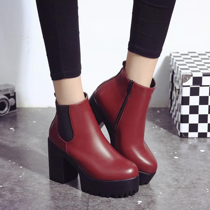 Plateformes talons cuir en hauts ChaussuresFemmes Rouge38 Bottes à 3j54ARLq