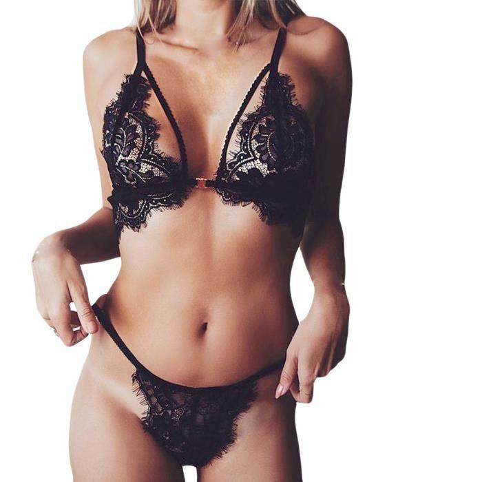 Marioyuzhang Femmes Lingerie Sexy Dentelle Fleurs Push Up Top ... 4921ee2a88e