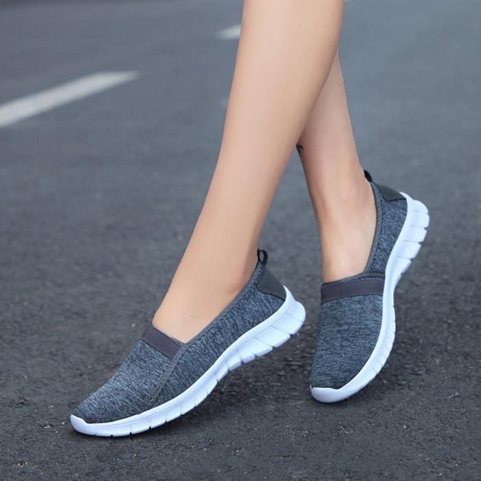 Lazy on Chaussures Sports Casual Mode Respirant Slip Gris Souples Foncé Semelles Féminine wXCxxOqIz