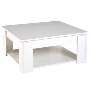 TABLE BASSE Table basse carrée design contemporain avec étagèr