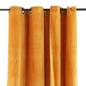 RIDEAU Rideau en velours de coton jaune 150x250cm ARTHUR