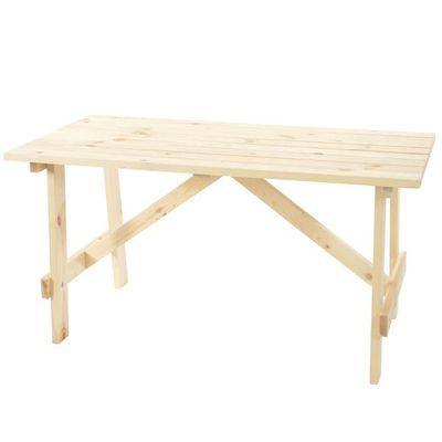 TABLE DE JARDIN 6 PLACES FRANZ - BOIS NATUREL L.148CM ...