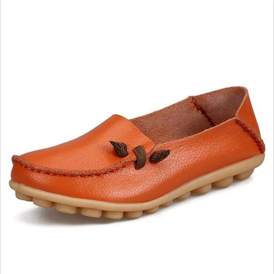 Moccasin femmes Grande Taille chaussures cuir Confortable Respirant nouvelle marque de luxe 2017 ete Respirant Loafer Marron Marron - Achat / Vente basket