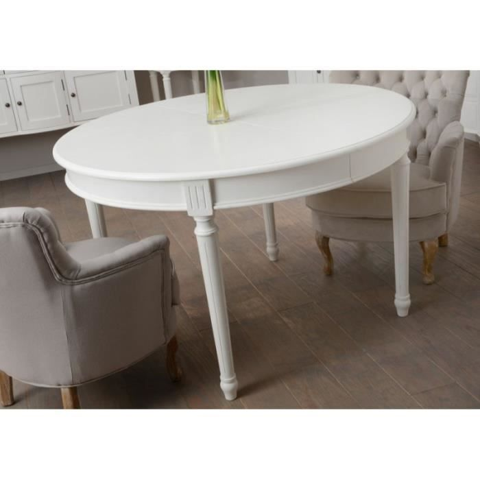 Table manger ronde allonge blanche romantique agathe for Table a manger blanche