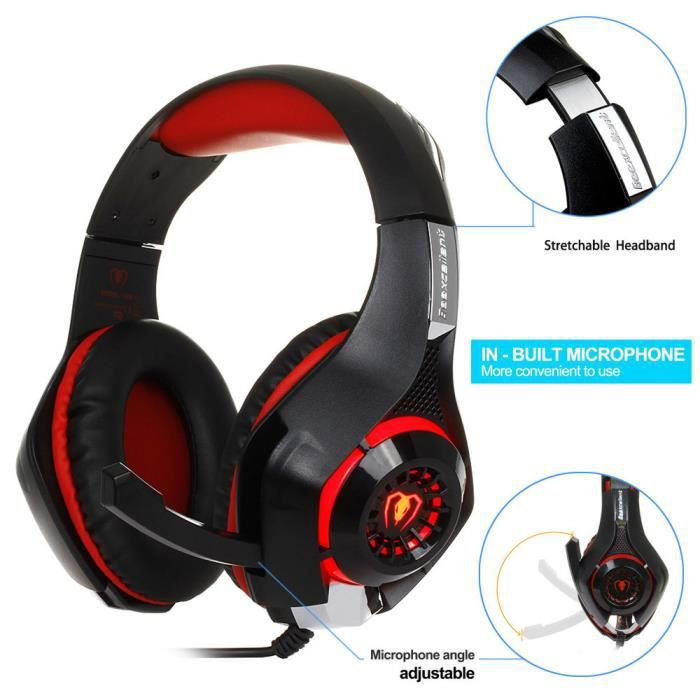 Gm-1 Gaming Headset Casque Filaire Gamer Avec Microphone Pour Ps4