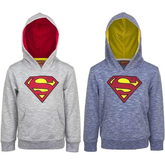 7ef0a375e82 Sweat à Capuche Poche Kangourou Logo SUPERMAN Enfant Garçon en Bleu ...