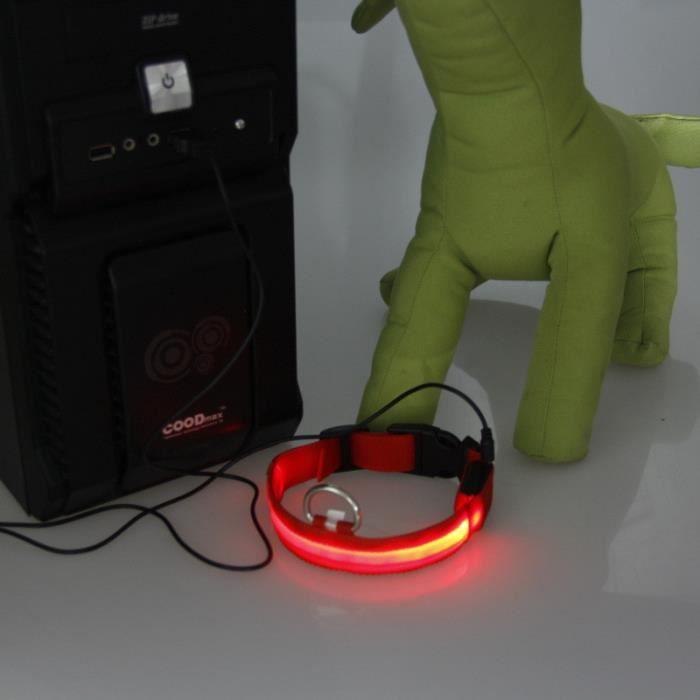 Yzw-13353 Adjustable Safety Pets Chien Led Flashing Night Light Nylon Collar Usb Charging Rouge