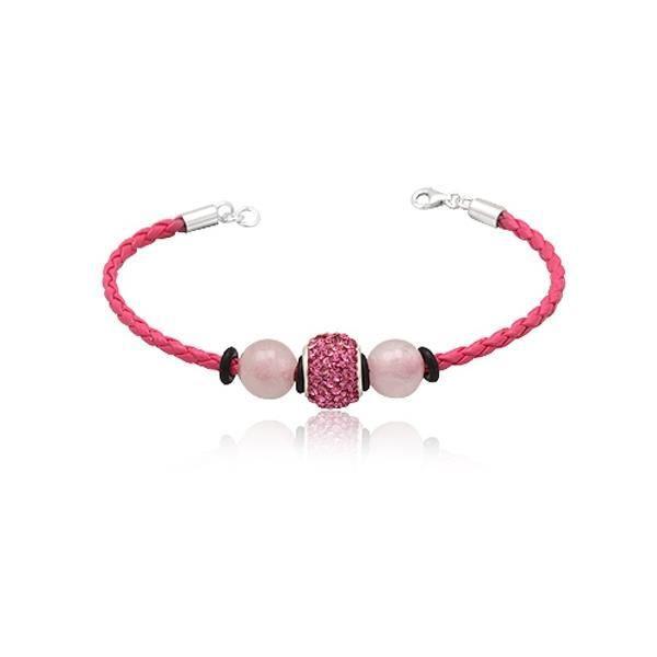 Bracelet cuir rose et pur Cristal F