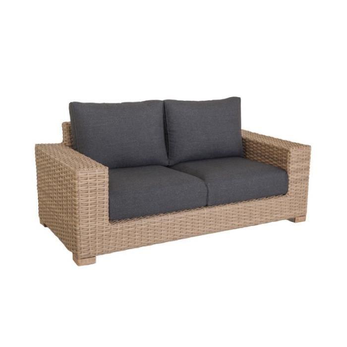canap de jardin 2 places en r sine tress e et coussins gris santa cruz l 180 x l 88 x h 74. Black Bedroom Furniture Sets. Home Design Ideas