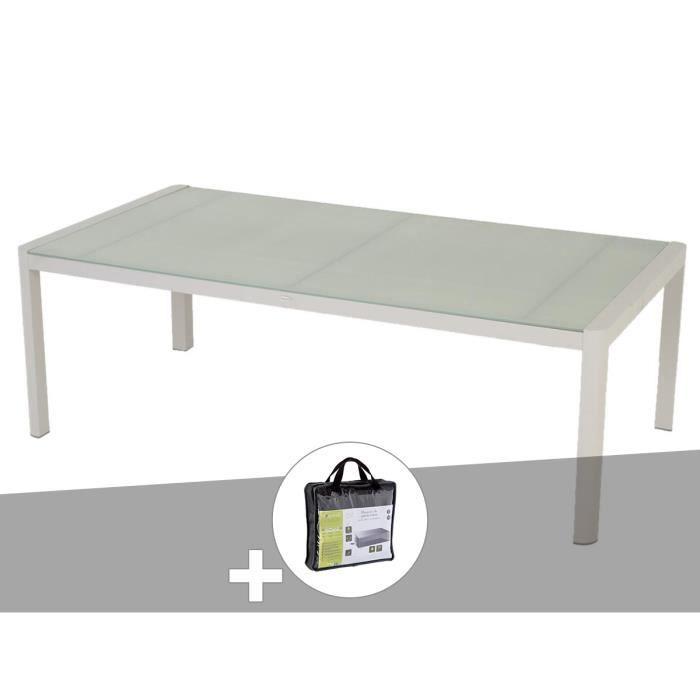 Table de jardin rectangulaire Absolu 10 places Taupe avec housse de  protection - Hespéride