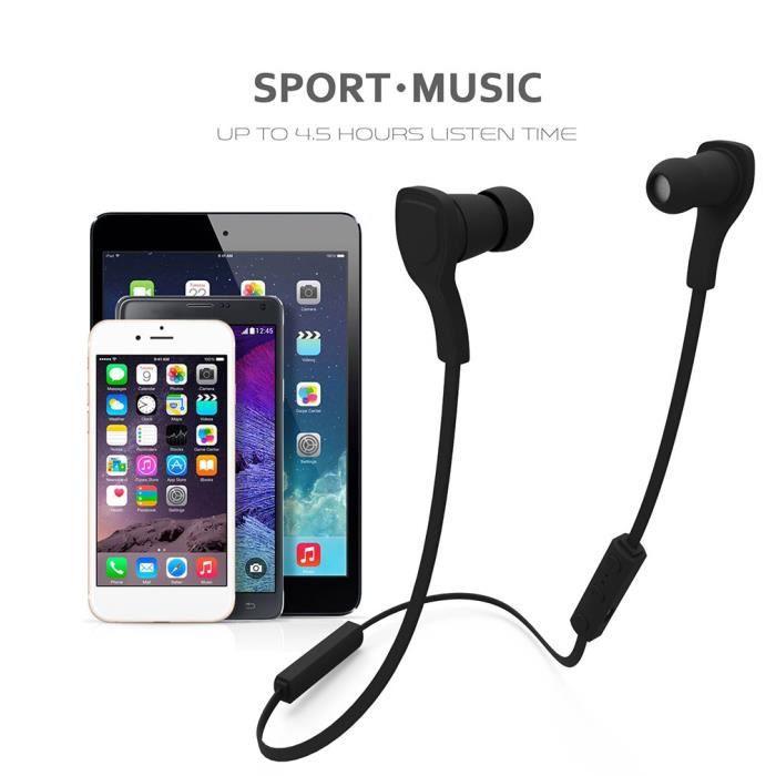 Écouteurs Bluetooth De Jogging Sports Couleur Noir