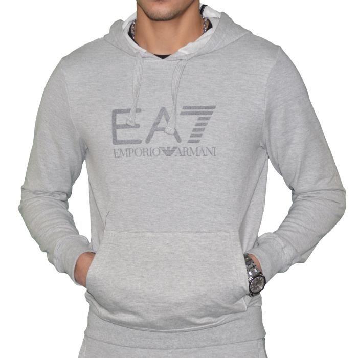 Ea7 - Sweat à Capuche - Homme - Visibility Hoodie Coft - Gris Clair ... b31619246ca6