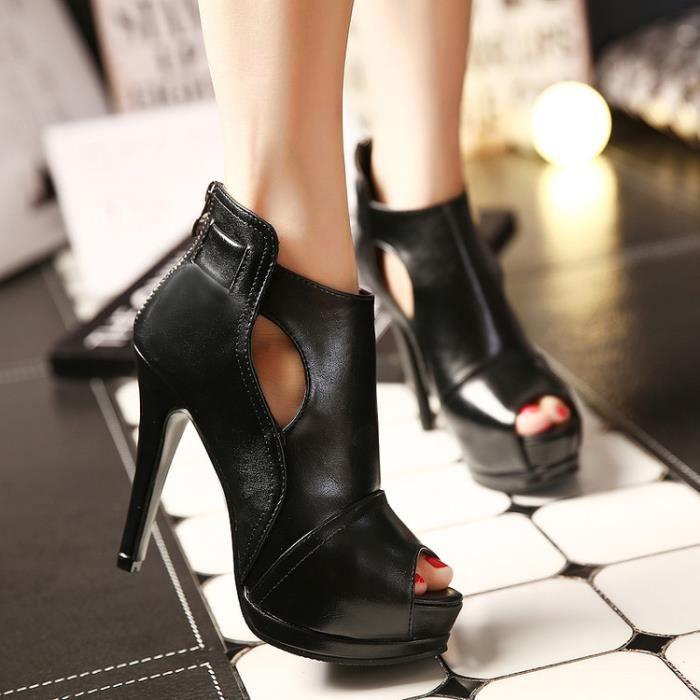 bottes courtes-Pure Color High Heel Heel mince de la femme avec le dos Zippers Bottes