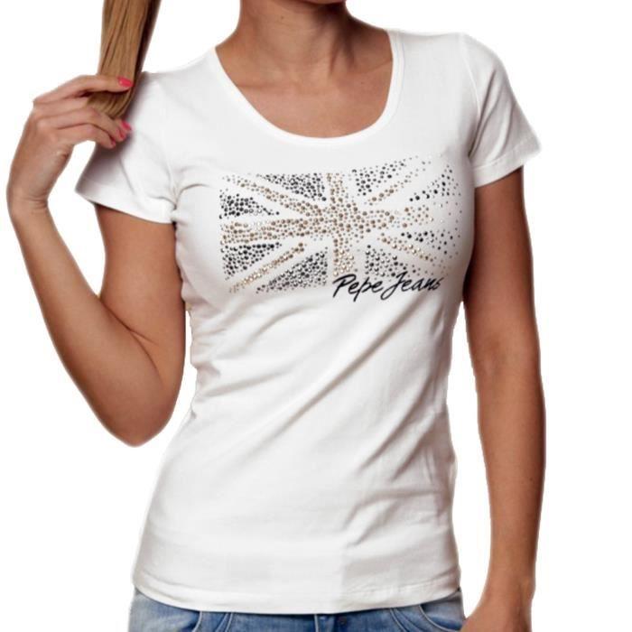 Pepe Jeans - T Shirt Manches Courtes - Femme - Kyle - Blanc Blanc ... 58cbbbc5c7fa