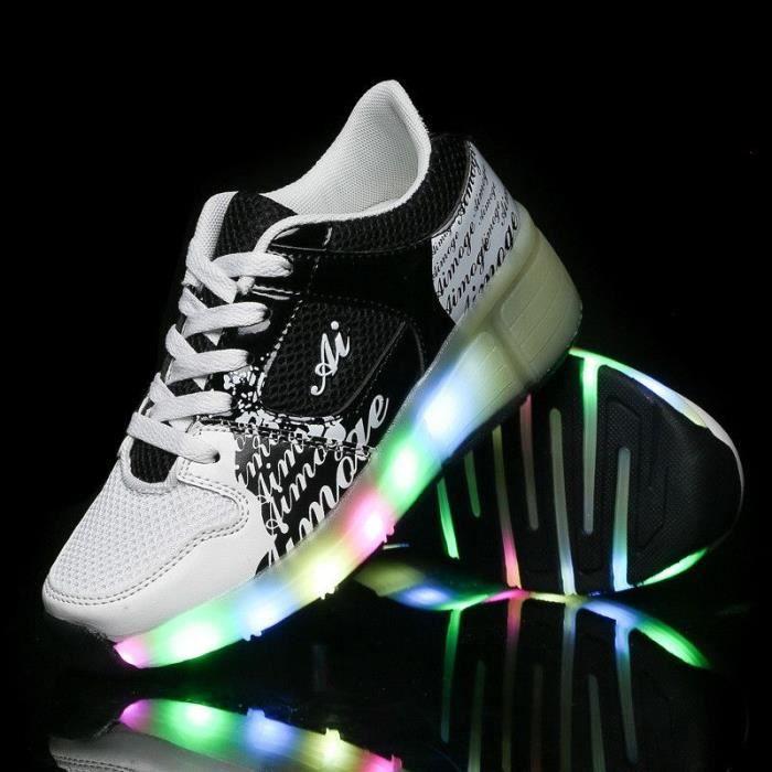 LED Heelys Propel Unisexe Chaussures à Roulettes Lumières Sneakers Chaussures à Lacets Antidérapante Chaussures de Maille