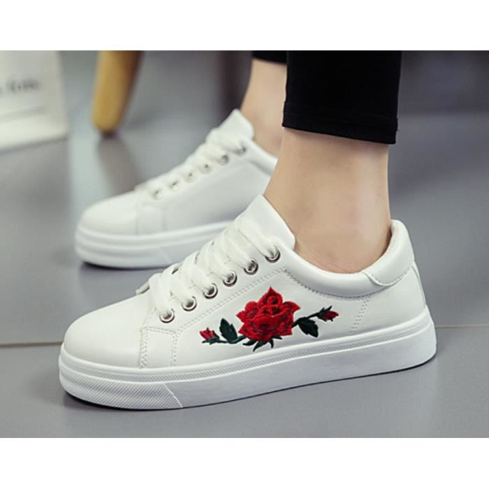 Femme Cuir Fleur Toning Chaussure Pu Broderie Confortable O8nwkP0X