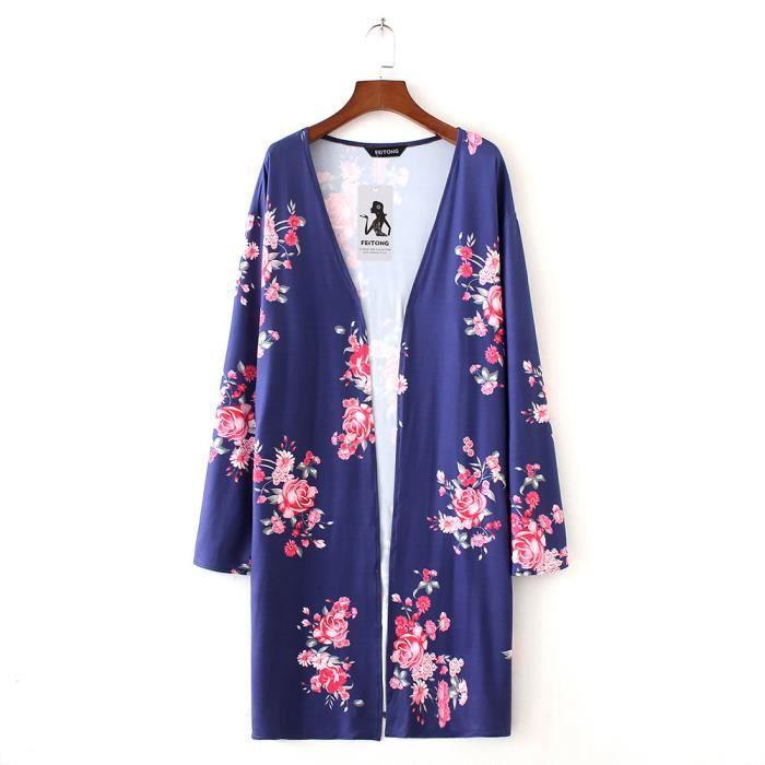Vrac Marine Haut Floral Feitong Kimono Cardigan Chemisier Recouvrir Boho Imprimer Femmes Châle PqqIwp