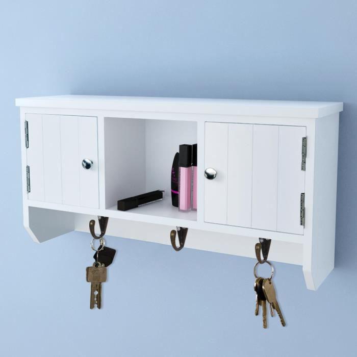armoire de rangement cl s et bijoux murale avec 2 portes. Black Bedroom Furniture Sets. Home Design Ideas