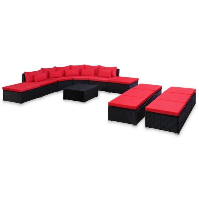 vidaXL Mobilier de jardin 9 pcs avec coussins Résine tressée Rouge