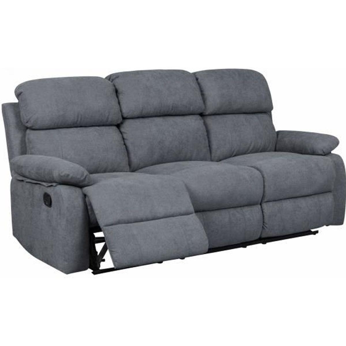 b06d7bff284 Canapé relax 3 places en tissu gris foncé KEATON - Achat   Vente ...
