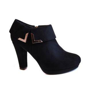 BOTTINE Bottines femme low boots noires aspect daim fantai