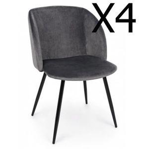 CHAISE Lot de 4 chaises Velours coloris Gris foncé - Dim