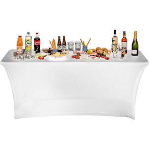 NAPPE DE TABLE Housse nappe table pliante 180cm blanche