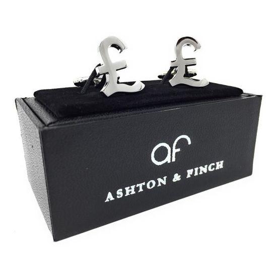 Ashton And Finch Livre Sterling L Argent Symbole Boutons De Manchette Fantaisie Dans Une Boite De Presentation De Luxe Gratuite