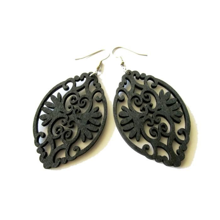 Léger Noir baroque femmes Style ovale en bois Boucles doreilles Boho modernes pourEUFA7