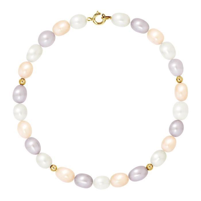 Bracelet Rang - Or Jaune 9 Cts - Perle Deau Douce - 18 Cm - Am-9brc Rior 56 Arj-mc CWX1V
