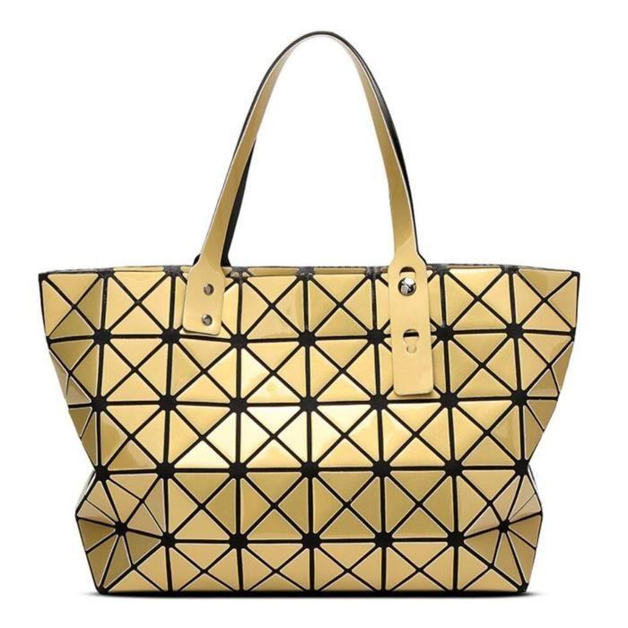 Mode géométrique Tote brillant Pu Sac bandoulière en cuir Sacs à main Top-manche YQEQT