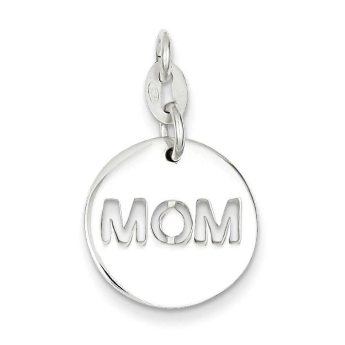 Argent Sterling poli charme-cercle Mom