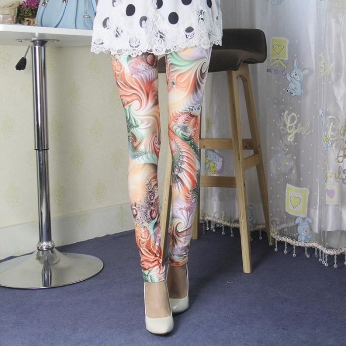 OR - Femme Legging Mince Paon Multicolore Pantalon Élastique Collant Sport  Pour Été Printemps Automne 81c259b2c45
