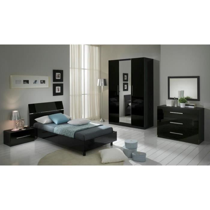 chambre coucher mod le gloria noire laquee armoire 3p et. Black Bedroom Furniture Sets. Home Design Ideas
