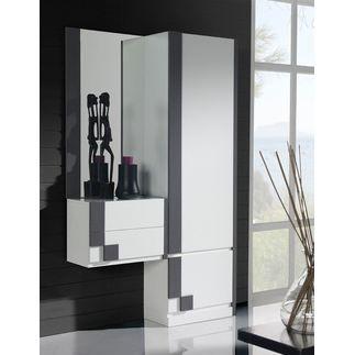 vestiaire d 39 entr e lina coloris blanc et gris achat vente meuble d 39 entr e vestiaire d. Black Bedroom Furniture Sets. Home Design Ideas