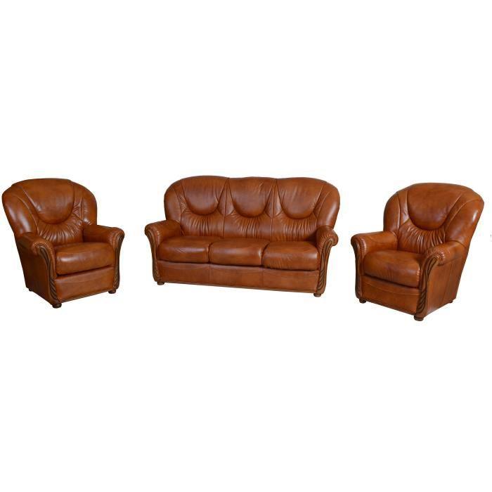 Salon stylisé cuir 3 places et deux fauteuils Fauve Achat