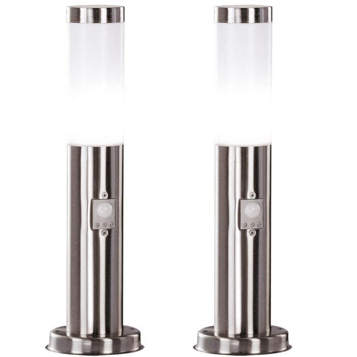 LAMPE DE JARDIN  2 x luminaire extérieur acier inoxydable IP44 déte