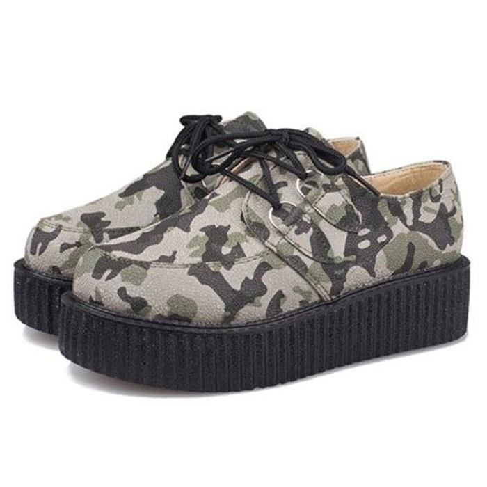 Bottines bottes chaussure talon creepers rock m...