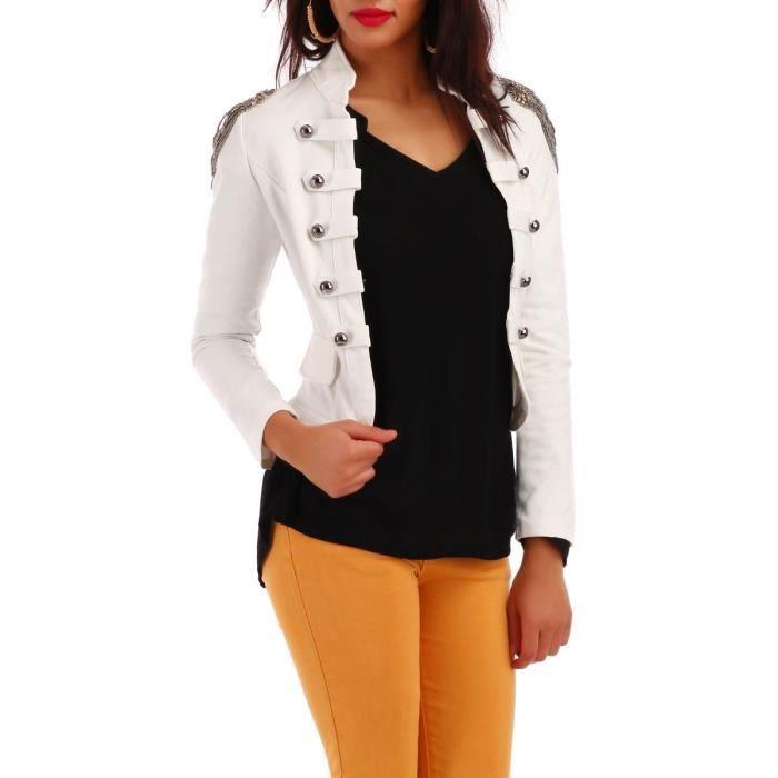 9390f60a5895 Blazer officier blanc épaulettes perlées et franges Blanc Blanc ...