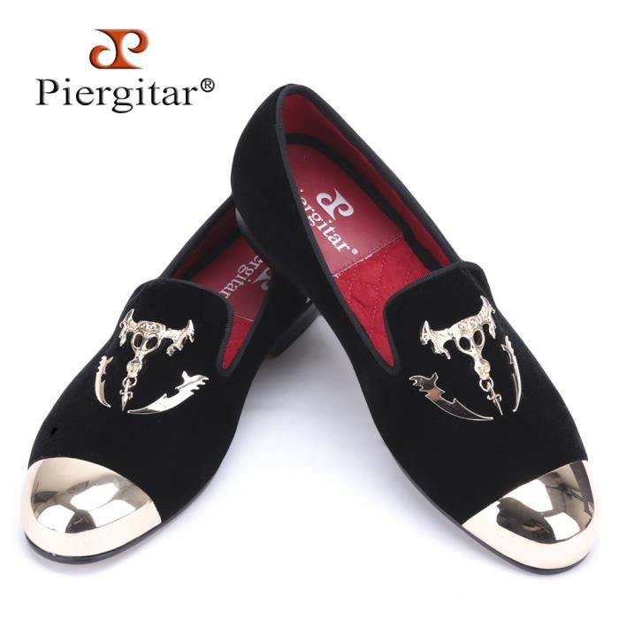 Luxe Formelles Velours Le Crâne Britannique Toe De Gold Boucle Et Mocassins Chaussures Avec Homme Style Noir Hommes 2WEIDH9Y