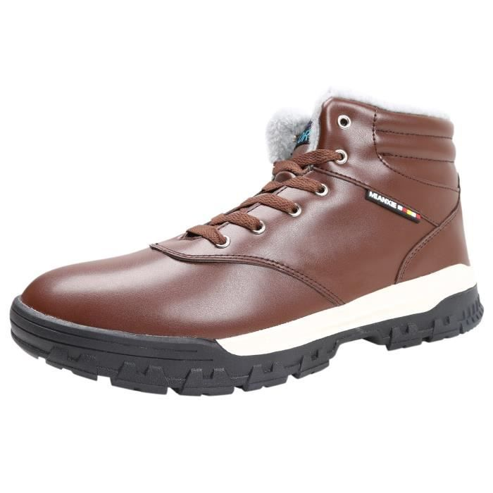 Ankle Fur JCTKK Leather Snow Sole Waterproof Up Winter Lined Mens 42 Lace Taille Rubber Outdoor Shoes Boots Y16WP