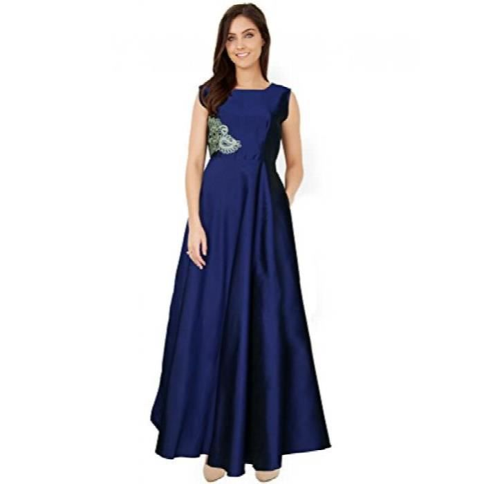 Womens Tafetta Silk Party Wear Gown DTTCH Taille-42