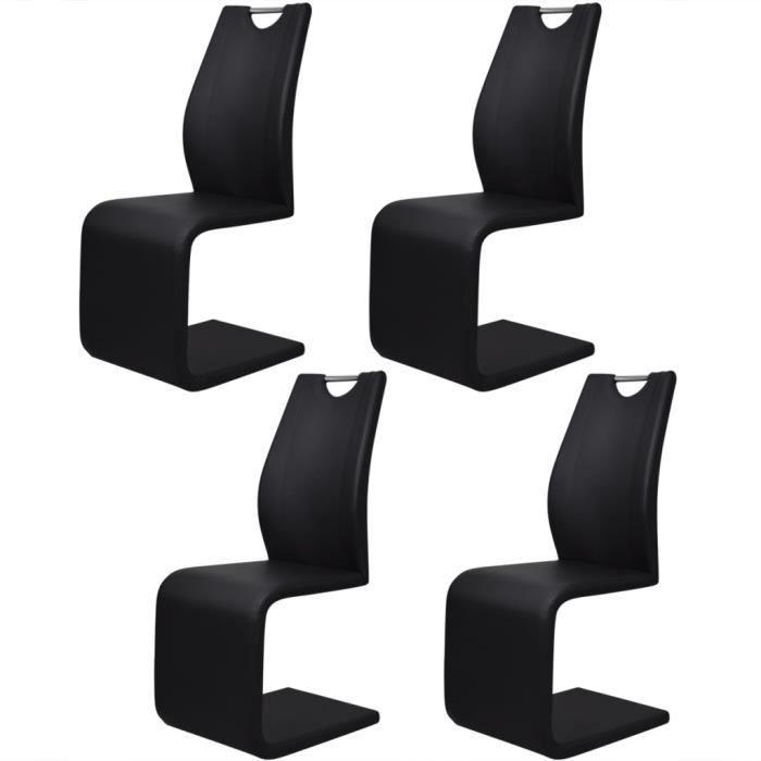 4pcs Chaises Moderne Style En Cantilever Avec Poignees En Cuir
