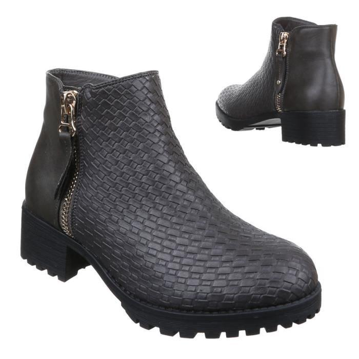 bottes gris 38 bottillon Femme chaussures qw4CATxp