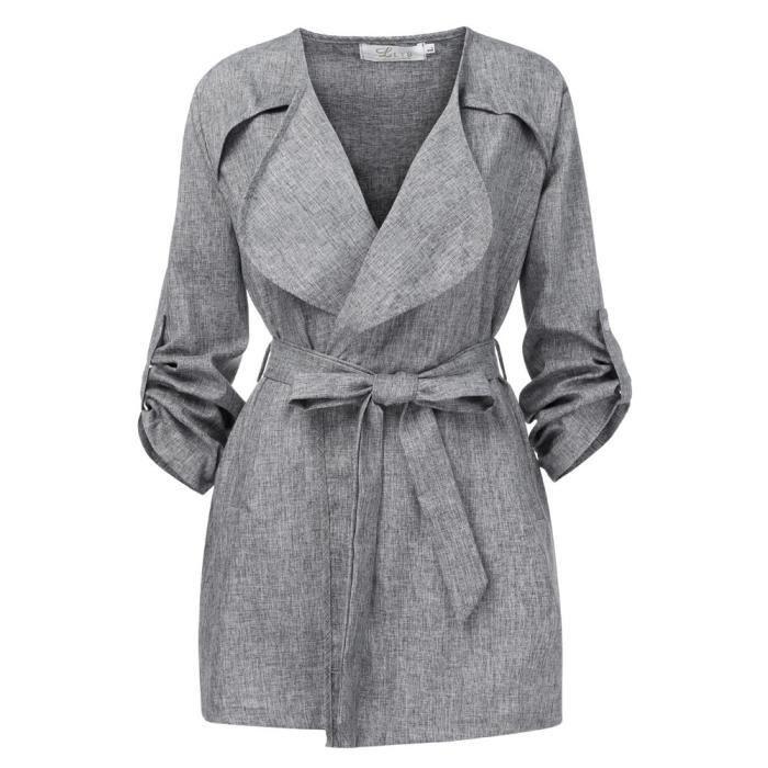 Outwear Solide Veste Gris Coupe vent Hauts Manches Women Manteau Loose Cjh81022002gy Longues Parka YxqXwPvH