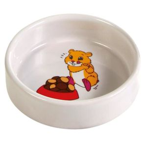 TRIXIE Ecuelle céramique avec motif hamster 90 ml/? 8 cm pour rongeurs