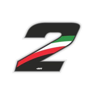 ACCESSOIRE CASQUE Nombre de Course 2 Grand, Drapeau Italien, 10 x 7,